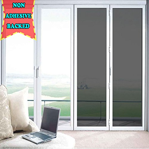 ZEALOTT Adhesive-free Static Cling No Glue Daytime Privacy Solar Sun Control Window Glass Tinting Film Sun Blocker Solar Guard, 23.6 Inches by 78.7 Inches (60cmx2m) per Roll, Black Grey (Security Tint)