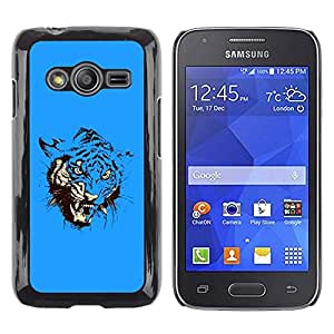 LECELL -- Funda protectora / Cubierta / Piel For Samsung Galaxy Ace 4 G313 SM-G313F -- Blue Fierce Tiger Attack --