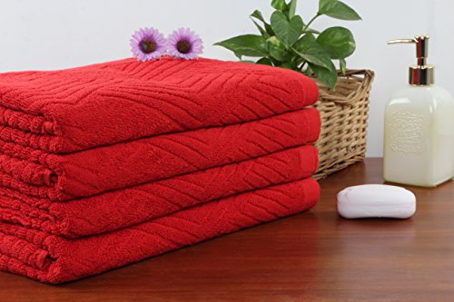 SoftWeave Red Cotton Pyramid Pattern Bath Towel, 75x150 cm, Set of 4, Routine Use, Finished Edges, Super Soft and Smooth, Towel for Gift, Plush, Luxury Spa-Hotel Grade, Practical and Durable ()