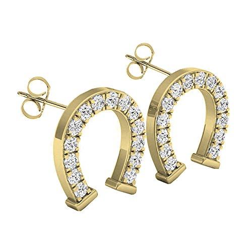 Diamond Ring Ladies Horseshoe (0.10 Carat (ctw) 10K Yellow Gold Round White Diamond Ladies Horseshoe Stud Earrings 1/10 CT)
