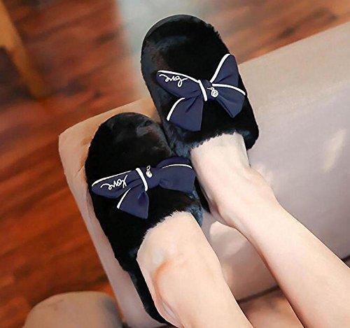 maison nouvelles pantoufles en black peluche peluche et gamme de en automne Pantoufles de home Baotou tempérament haut hiver wxq7Xgn6O
