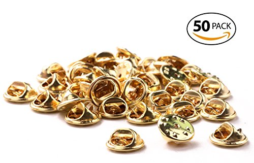 Shapenty Brass Butterfly Clutch Metal Uniform Badge Pin Backs Keepers Replacement Tie Tack Lapel Pin Backing Holder Clasp (Gold, 50PCS)