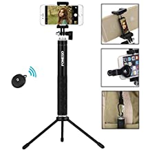 Selfie Stick, Foneso 6 in 1 Aluminum Extendable Self-portrait Monopod with Tripod and Fisheye Len for iPhone 7 Plus 7 6s,Samsung Galaxy S6 S5,Gopros,DSLR,Cameras,Bluetooth Remote Control for Ios/Android Phones