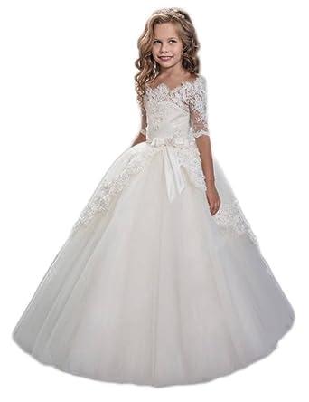 6beb868ac16 Amazon.com  hengyud White Lace Flower Girls Dresses First Communion Dress  Princess Wedding 47  Clothing