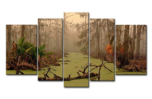 Photo Tree Dead (So Crazy Art 5 Piece Wall Art Painting Louisiana Swamp Dead Tree On Water Autumn Palm Pictures Prints On Canvas Landscape The Picture Decor Oil For Home Modern Decoration Print For Furniture)