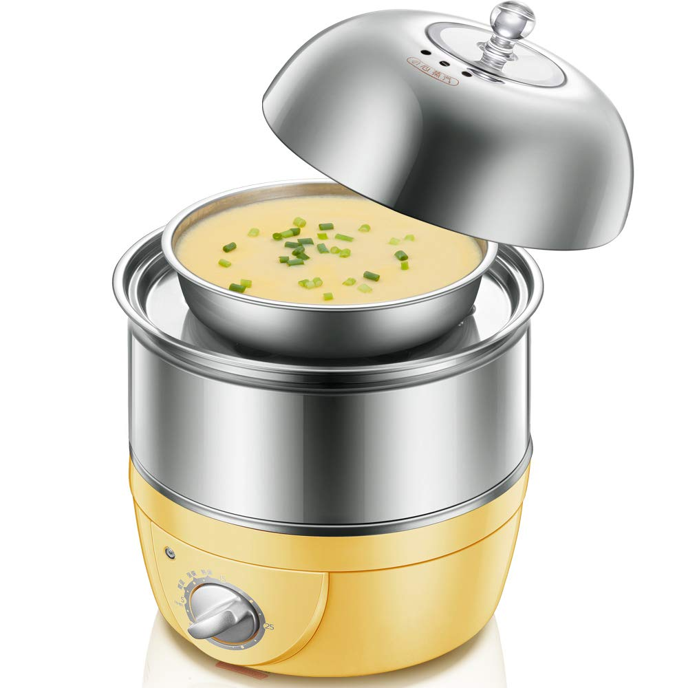 Egg Boiler, Poacher and Omelette Maker,360W Stainless Steel Multi-Function Double Boiled Egg Machine with Timer, Automatic Power Off, Fast Heating
