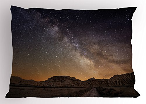 Lunarable Night Sky Pillow Sham, European Vacation Place Spain Milky Way Over The Desert of Bardenas View, Decorative Standard Size Printed Pillowcase, 26 X 20 Inches, Brown and Dark Blue by Lunarable