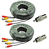 2-Pack 125ft Black Pre-made All-in-One BNC Male to Male Video and Power Cable Wire Cord with RCA Connector for CCTV Security Camera