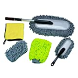LXDART Microfiber Extendable Long Handle Car Cleaning Duster Brush Interior and Exterior Lint Free 5pcs Set