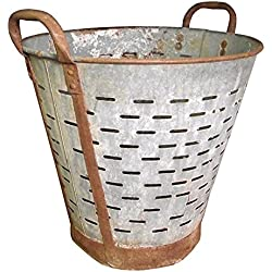 Olive Bucket,Vintage,Large,16 inch, Authentic Found Olive Basket,Indoor Outdoor Rustic Flower Pot,Farmhouse Decor, Front Door Porch and Patio Planter