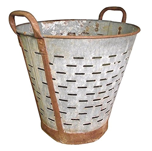 Metal Olive - Olive Bucket,Vintage,Large,16 inch, Authentic Found Olive Basket,Indoor Outdoor Rustic Flower Pot,Farmhouse Decor, Front Door Porch and Patio Planter