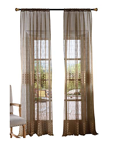 BW0057 Retro Chinese Style Clover Embroidered Sheer Curtains Window Home Decoration for Bedroom Living Room (1 Panel, W 50 x L 63 inch, Brown) 1300760C1BYBBN15063-8516 Chinese Embroidered Silk Panel