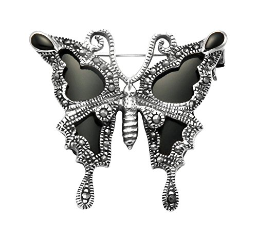 Sterling Silver & Marcasite Butterfly Pin w/Simulated Black Onyx Wings