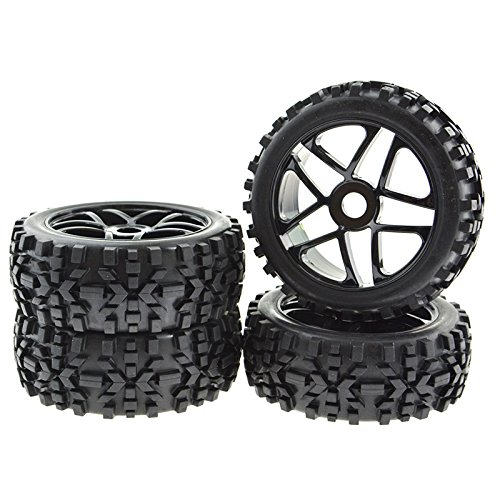4x RC Wheel Rims Pentagram Tyre Tires Hex 17mm for 1:8 Off-Road Vehicle Black