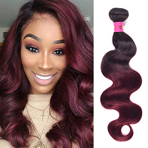 Mother's Day Gift FASHION LADY 1 Bundle Ombre Brazilian Body Wave Hair Weave 2 Tone Black to Burgundy #1b/99J Color Unprocessed Remy Human Hair Extensions(#1b/99j Body 16Inch)