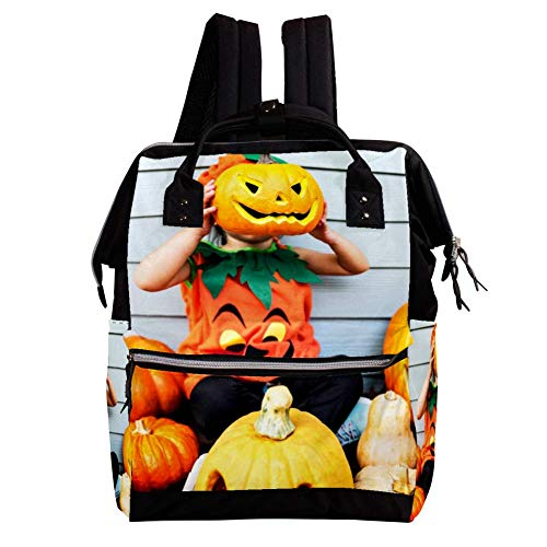 Indimization Halloween Pumpkin Casual Daypack Leather Backpacks,Fashion Travel School Bag,College Student Bags for Boys & Girls Holds 27x19.8x36.5cm/10.6x7.8x14in ()
