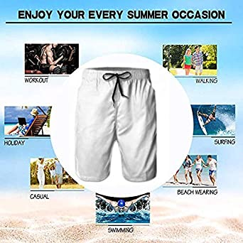 LOLOIJA Mens Delete Sign Pattern Shorts Elastic Waist Pockets Lightweight Beach Shorts Boardshort