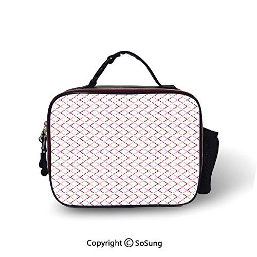 Trellis Leakproof Reusable Insulated Cooler Lunch Bag Victorian Ancient Oval Shapes Retro Antique Traditional Vintage Style Pattern Print Picnic Hiking Beach Lunch bag,10.6x8.3x3.5 inch,Multicolor