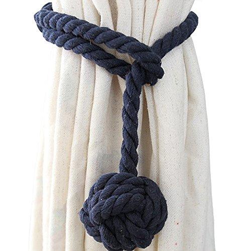 Cord Tie Backs (Shinywear 2 Pieces Retro Handmade Curtain Ropes Holdbacks Rural Knot Ball Cotton Cord Drapery Tiebacks Tie Band (Navy blue))