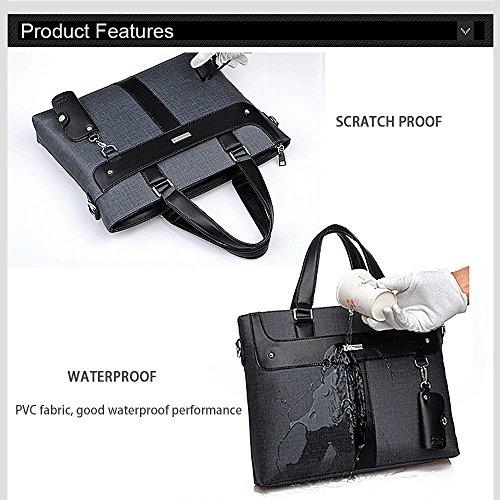 Ranbow Multifunción cartera del negocio de los hombres de ocio bolsa impermeable del ordenador portátil del recorrido del bolso bandolera bolsa de Lawer con carpeta y un caso clave Negro