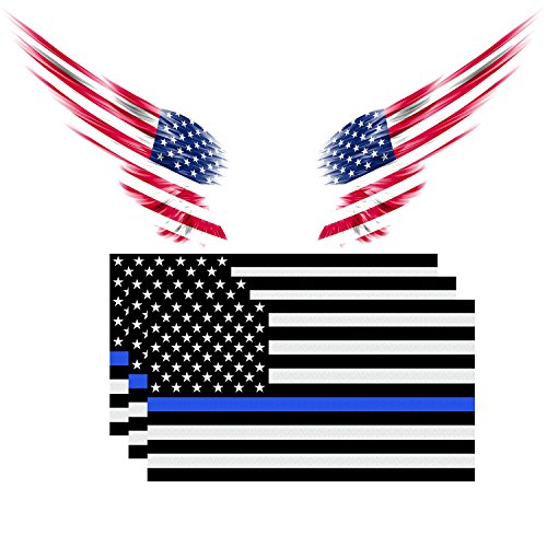 American Flag Decal Packs with Thin Blue Line for Cars & Trucks, TyhoTech Reflective 3-PACK 4.5 x 2.5 inch USA Flag Vinyl Decal Sticker and 1-PACK US Angel's Wing Sticke Vinyl Window Bumper (Cop Premium Package)