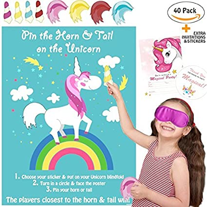 La Unicorn 2 Games Pin The Horn On Party Game Large