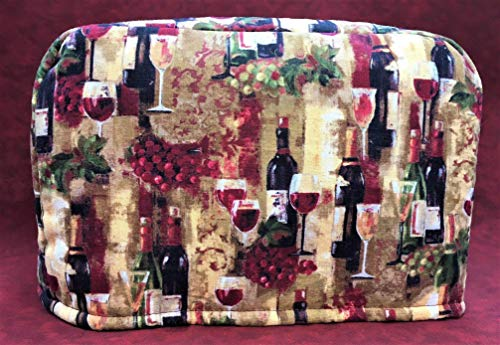 2 Slice Wine Splendor Glasses and Bottles Reversible Toaster Appliance Dust Cover Cozy 11.5(l) x 7.5(h) x 5.5(w) (Kitchenaid Pattern Cover)
