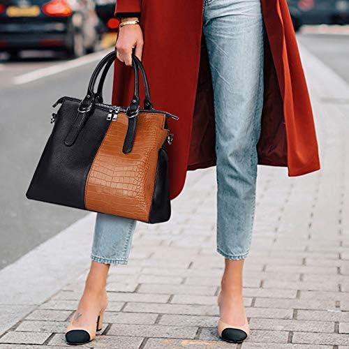 IBFUN Women Top Handle Handbag Purse Black Leather Leopard Satchel Tote Handbag