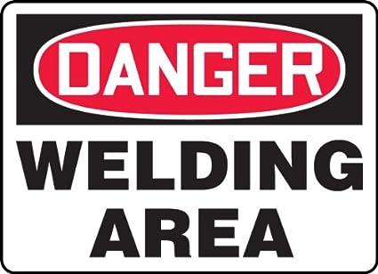 Signos Accuform MWLD009VS vinilo adhesivo señal de seguridad, leyenda peligro soldadura área, 7 cm