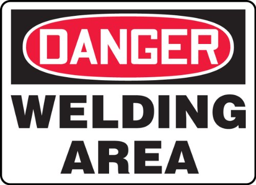 "Accuform MWLD009VP Plastic Safety Sign, Legend""Danger Welding Area"", 7"" Length x 10"" Width x 0.055"" Thickness, Red/Black on White"