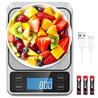 "Allkeys USB Rechargeable Food Scale,Digital Kitchen Scale Weight Grams and Oz for Cooking and Baking, 0.1g/0.035oz Precise Graduation, 9""x6.3""Stainless Steel Surface, Large Back-lit LCD Display"