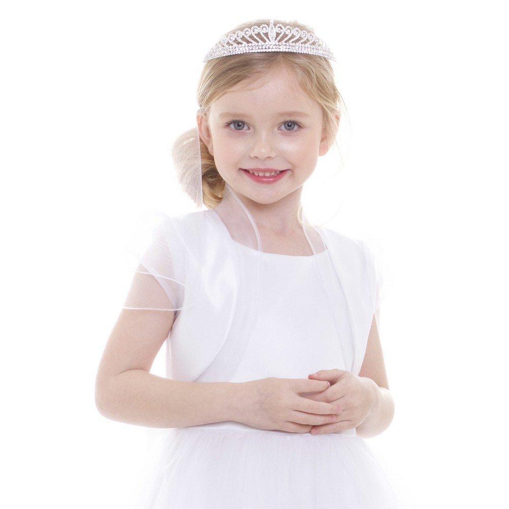 Petite Adele Big Girls White Satin Organza Ruffles Elegant Bolero 13-14
