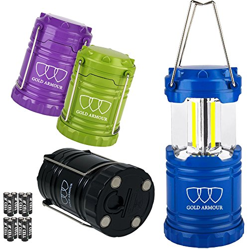 Gold Armour Brightest LED Lantern 4Pack - Camping Lantern (EMITS 500 LUMENS!) - Camping Gear Equipment Accessories for Hiking, Emergencies, Hurricanes, Outages (Cl90)