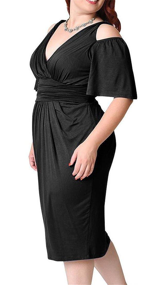 Conffetti Womens Cold Shoulder Plus Size Bodycon Empire Waist Short Sleeve Pencil Dresses