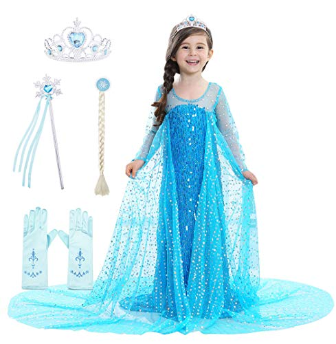 Cotrio Elsa Costumes Girls Luxury Long Cape Sequins Princess Dress Up Halloween Outfits with Accessories Birthday Fancy Party Dresses Size 4T (3-4Years, Blue)]()