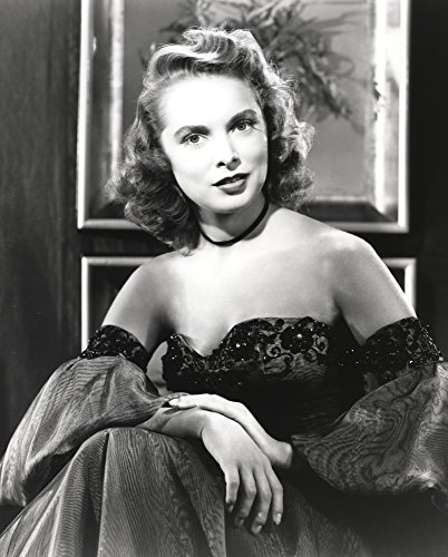 Posterazzi Janet Leigh Close Up in Classic Portrait in Black Silk Strapless Dress and Flase Sleeves with Hands on The Lap Photo Poster Print (8 x 10)