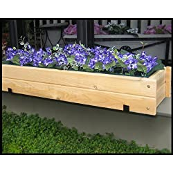 Unfinished Paintable Cedar Window Box w/ Liner and Cedar Bracket Pair | 30 Inch