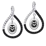 Colorado State Rams Sterling Silver Black Saphire and White CZ Figure 8 Style Earrings