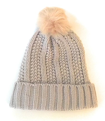 East Of Town Women Warm Winter Beanies. Slouchy Cable Knit Design. Fleece Lining Inside For Warmth. With Faux Fur Pom On Top. Perfect For The Cold Weather. (Light - Town East