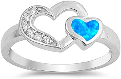 CloseoutWarehouse Cross Blue Simulated Opal 925 Sterling Silver Size 9