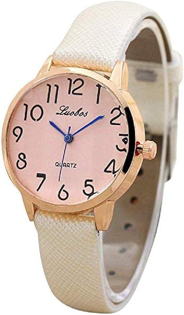 Reloj De Señoras De La Moda, Scpink Señoras Elegantes Y Pequeñas Dial Pequeño Correa Fina Reloj De Cuarzo Espejo De Cristal Redondo De Acero Inoxidable Dial Reloj Digital Cuero