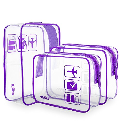 ANRUI Clear Toiletry Bag TSA Approved Travel Carry On Airport Airline Compliant Bag Quart Sized 3-1-1 Kit Travel Luggage Pouch 3 Pack (Purple) - Kit Purple