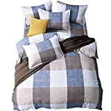 Uozzi Bedding 3 Piece Duvet Cover Set King, Reversible Printing Brushed Microfiber, Lightweight Soft, Comfortable, Durable (Gray-Blue-White-Plaid, Queen)