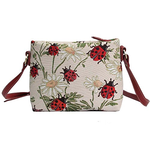 Red Ladybug and Daisy Pattern Women's Fashion Canvas Tapestry Mini Satchel Cross-body Purse Bag with Adjustable Strap also as Small Shoulder Bag by Signare (XB02-LDBD) (Purse Ladybug)