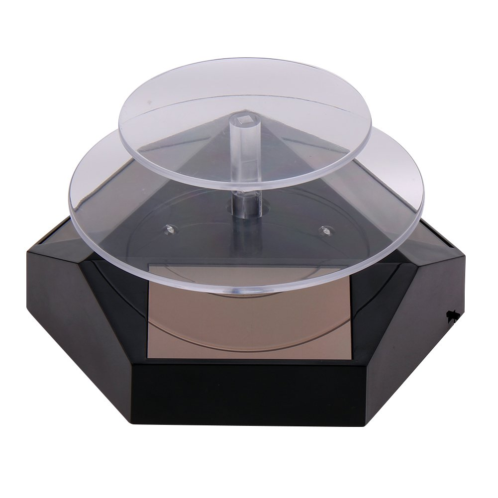Alloet Solar Powered Jewelry Display Stand 360 Degree Rotating Table Plate with LED Ligh (Black)