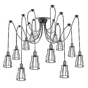 Cablematic - Lámpara con jaulas largas para 12 bombillas de rosca E27 vintage con cable de 3m