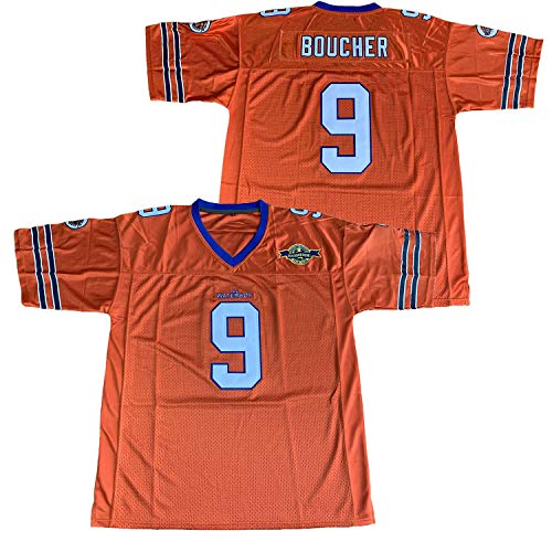 Adam Sandler 9 Bobby Boucher The Waterboy Mud Dogs Bourbon Bowl 50th Anniversary Patch Movie Football Jersey (Orange, Large)
