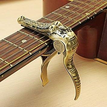 Cejilla trigger crocodile dorada, de cambio rápido, para guitarra eléctrica y acústica, banjo y ukelele: Amazon.es: Instrumentos musicales
