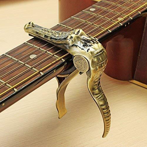 Cejilla trigger crocodile dorada banjo y ukelele para guitarra el/éctrica y ac/ústica de cambio r/ápido