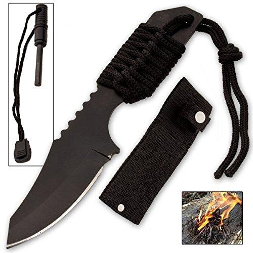 CLD198 Firestarter Knife Uhi2S With Nylon Sheath and Paracord GnHe2BkxMz (Black) folding knife sharp edge yuu45672gh 6.85 inch overall f9cga8 length. Long paracord on the end of the handle. 2.85 inch razor sharp T54DN drop point blade. Nylon sheath.